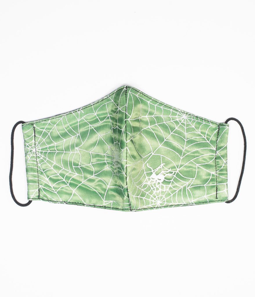 Magnolia Place Green & Silver Spiderwebs Tulle Face Mask