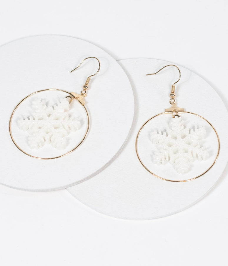 White Snowflake & Golden Hoop Earrings