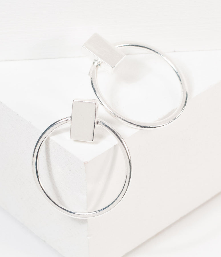 Retro Style Silver Circle Hoop Earrings