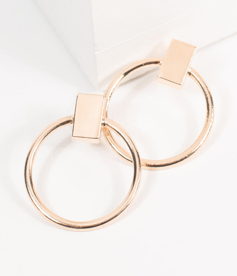 Retro Style Rose Gold Circle Hoop Earrings