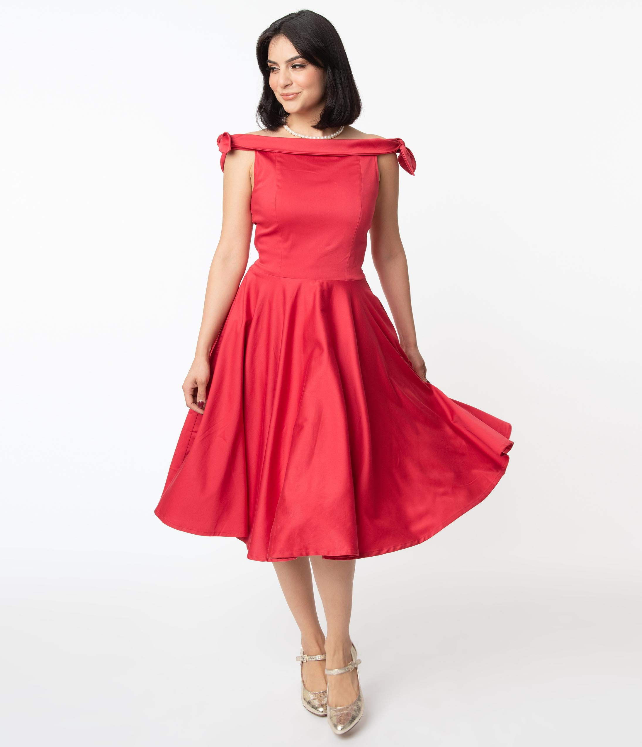 What Did Women Wear in the 1950s? 1950s Fashion Guide 1950S Red Off Shoulder Mona Swing Dress $82.00 AT vintagedancer.com