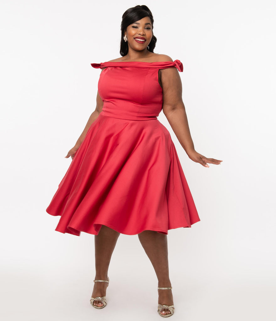 Plus Size 1950s Red Off Shoulder Mona Swing Dress