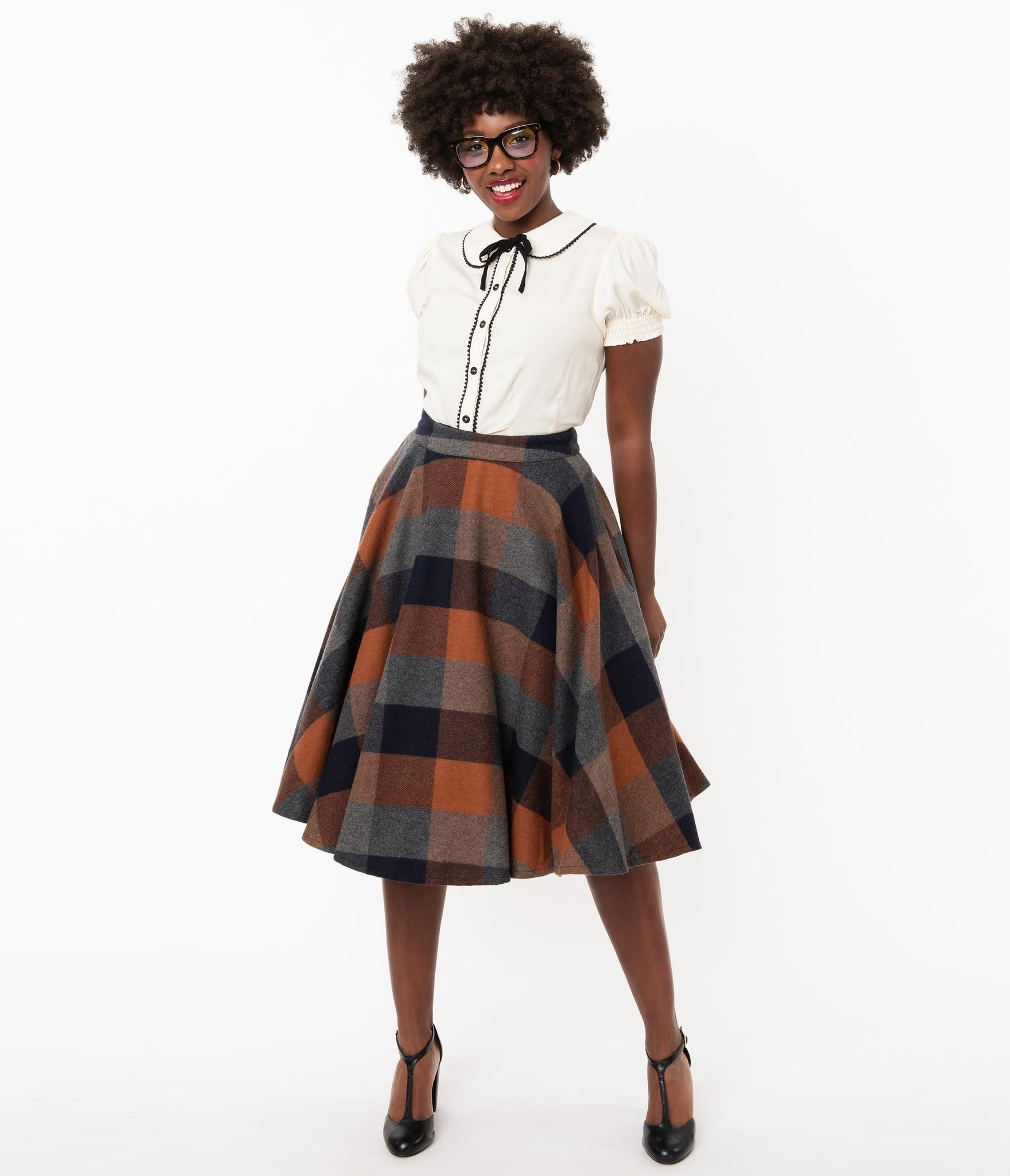 Retro Style Brown & Grey Plaid Wool Sofia Swing Skirt