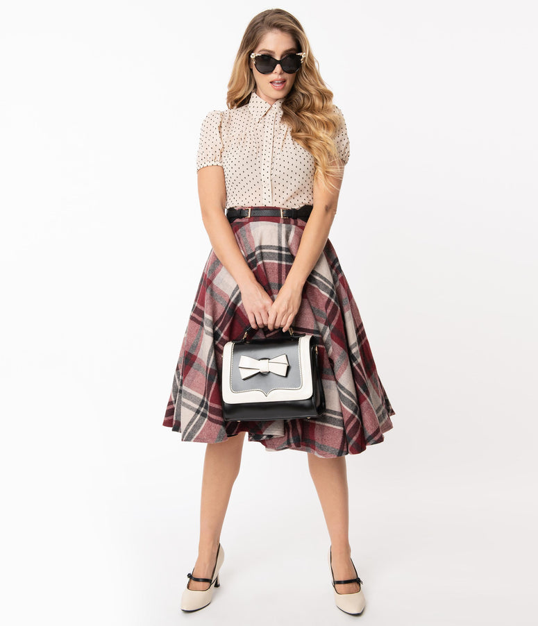Retro Style Red & Grey Plaid Wool Sofia Swing Skirt