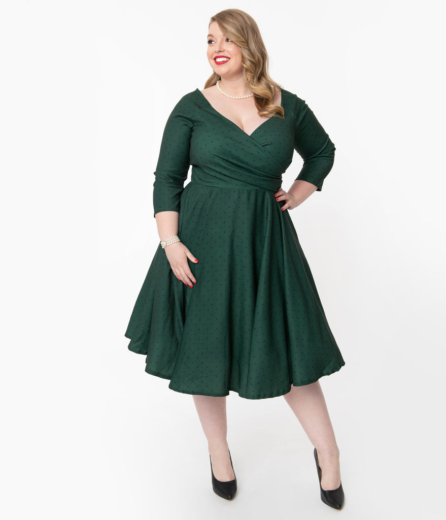 Plus Size 1950s Emerald & Navy Polka Dot Genevieve Swing Dress