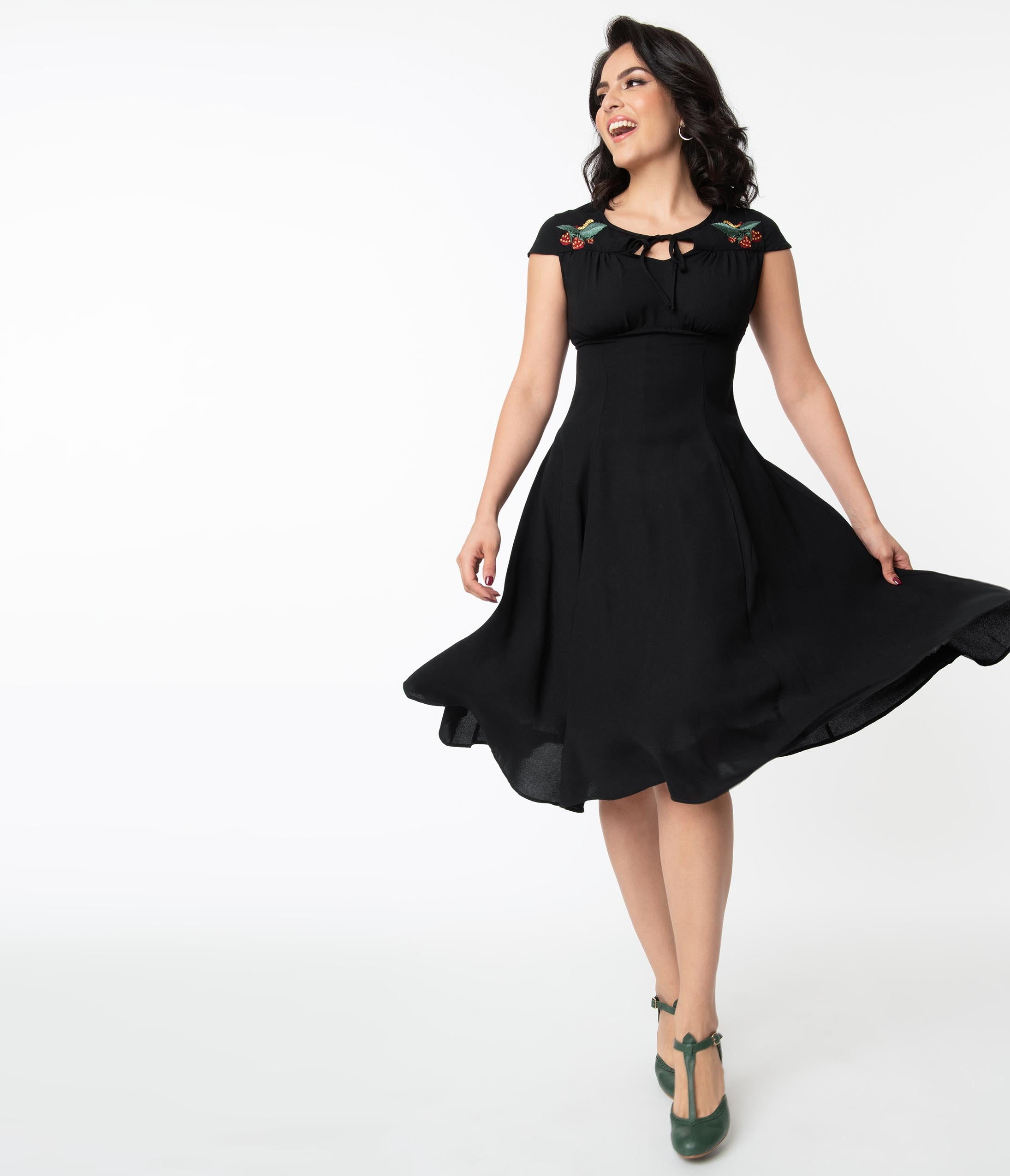1940s Fashion Advice for Tall Women 1940S Style Black  Strawberry Embroidery Adalee Swing Dress $74.00 AT vintagedancer.com