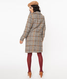 Retro Style Grey & Brown Woven Plaid Jacket