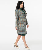 Retro Style Brown & Teal Woven Plaid Jacket