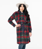 Retro Navy & Red Plaid Coat
