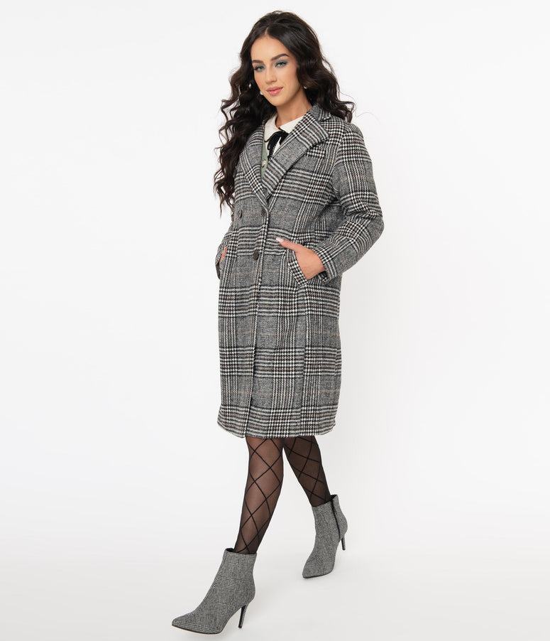 Retro Style Grey Glen Plaid Coat
