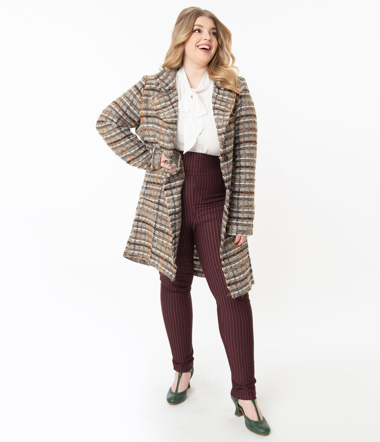 Plus Size Retro Style Grey & Brown Woven Plaid Jacket
