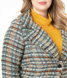 Plus Size Retro Style Brown & Teal Woven Plaid Jacket