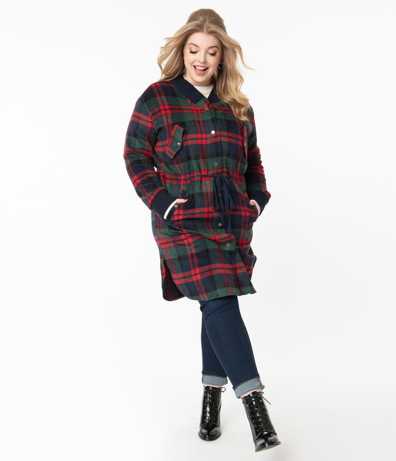 Plus Size Retro Navy & Red Plaid Coat