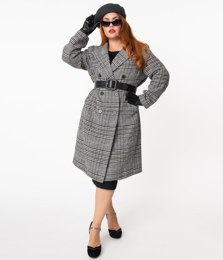 Plus Size Retro Style Grey Glen Plaid Coat