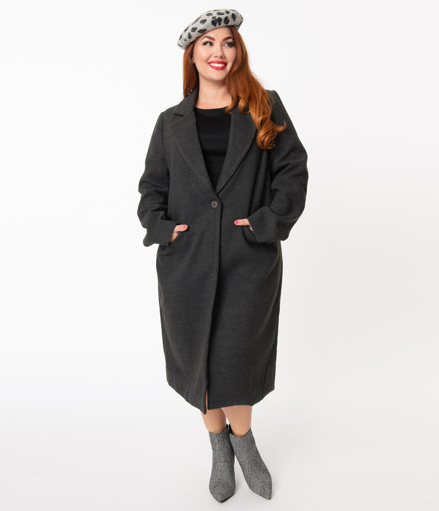 Plus Size Charcoal Grey Single Breasted Overcoat
