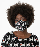 Black & White Cat Print Face Mask