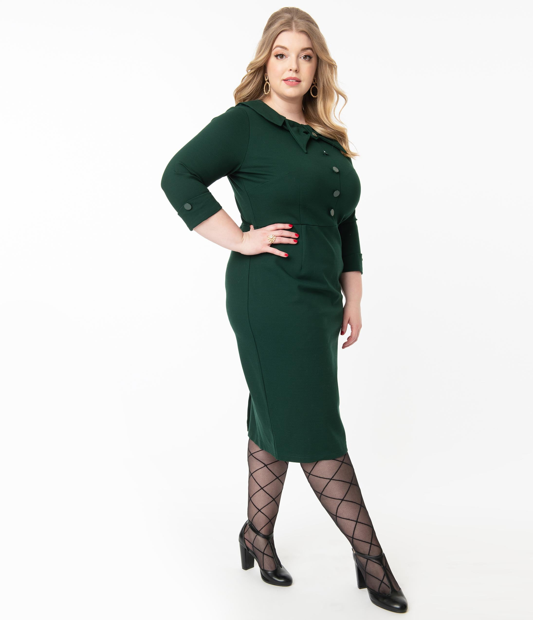 Wiggle Dresses | Pencil Dresses 40s, 50s, 60s Plus Size 1940S Style Dark Green Ceo Wiggle Dress $142.00 AT vintagedancer.com