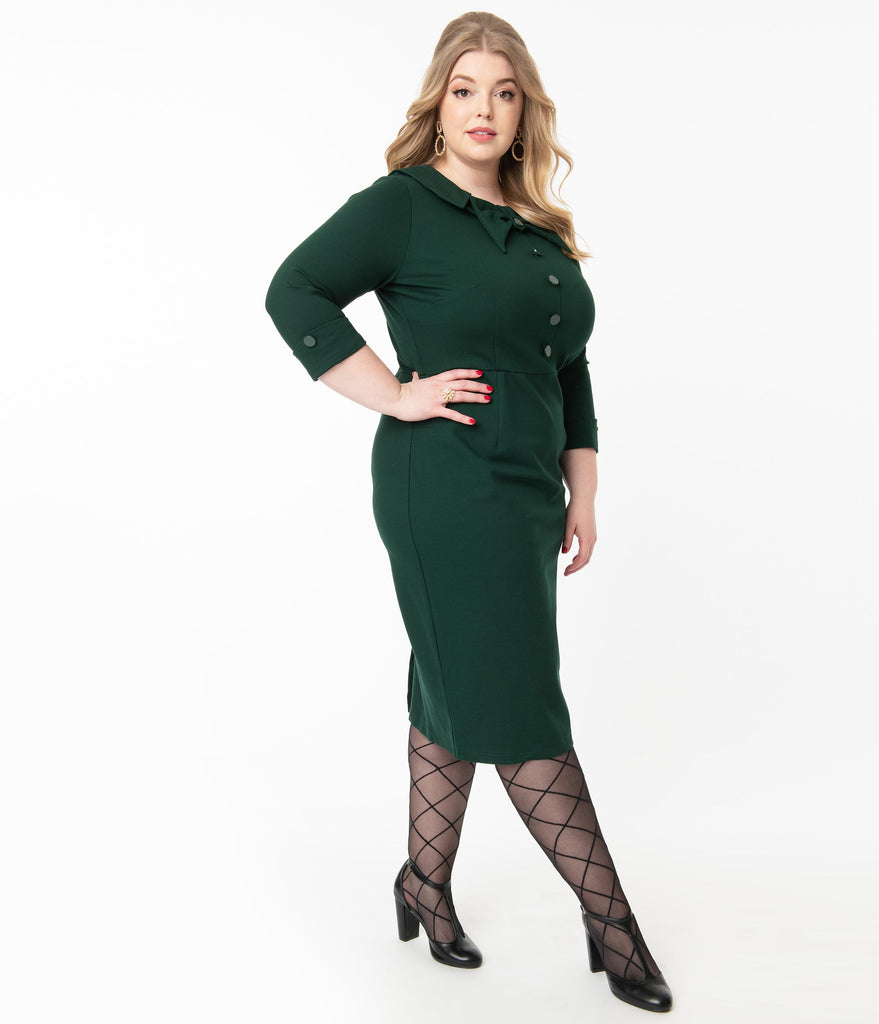 Plus Size 1940s Style Dark Green CEO Wiggle Dress