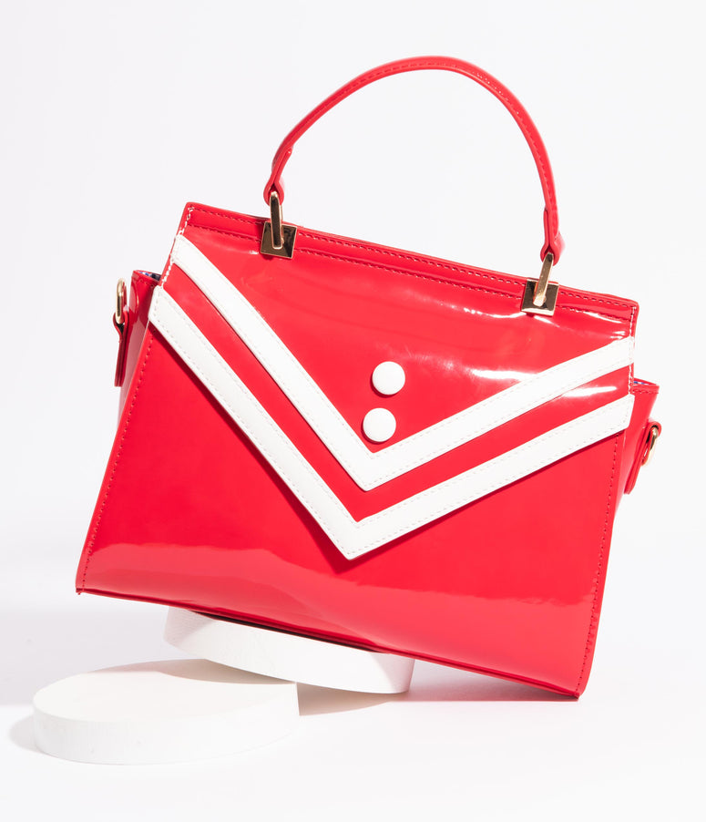 1950s Red Patent Serene Waters Nautical Handbag