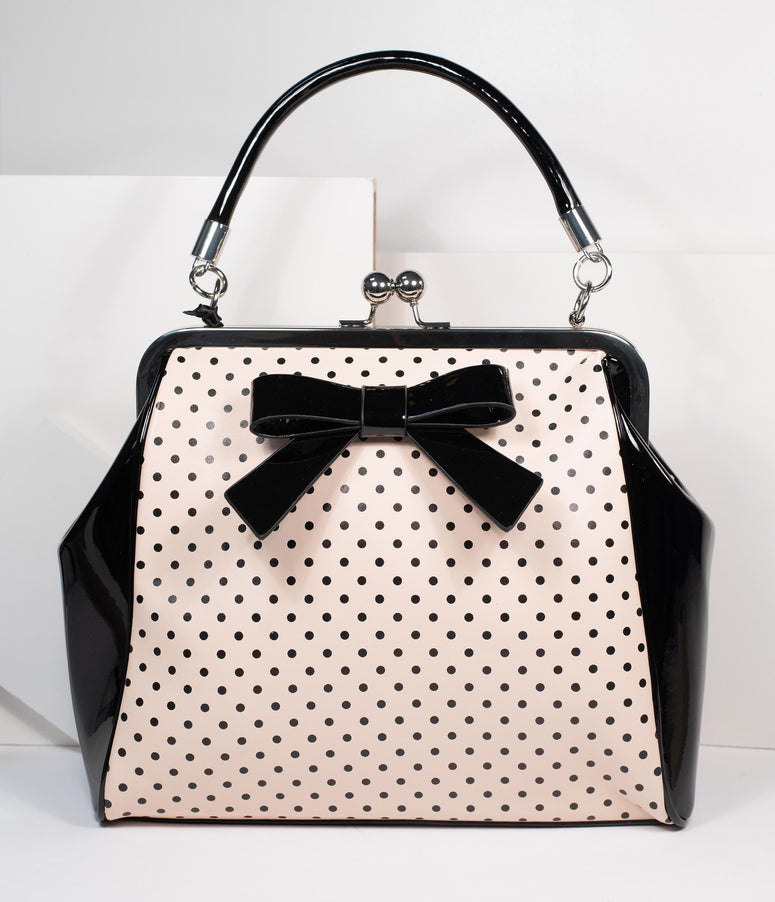 1950s Blush & Black Polka Dot Starr Handbag