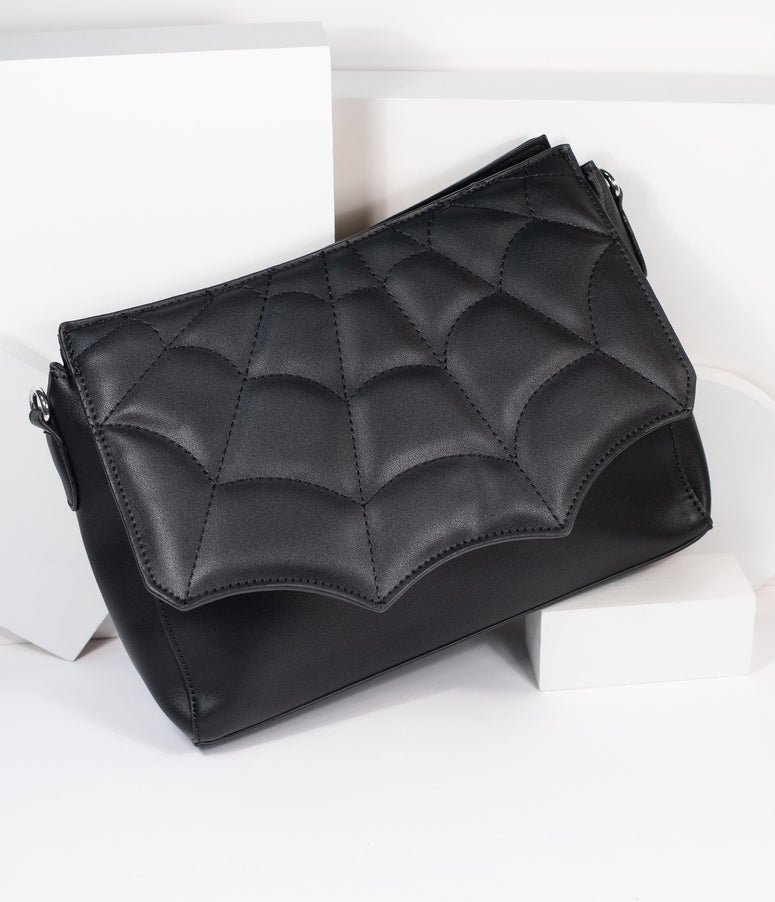 Black Spider Web Leatherette Purse