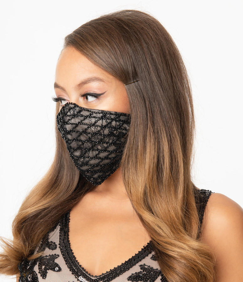 Beige & Black Beaded & Lace Face Mask