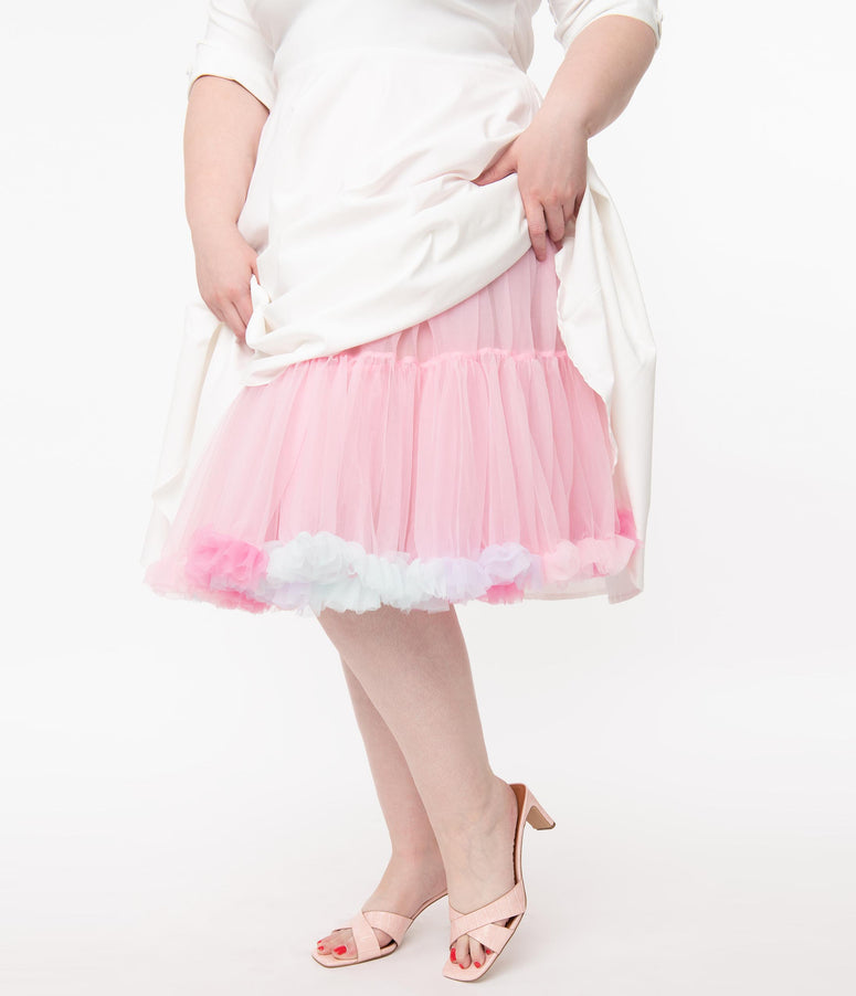 Unique Vintage Plus Size Pastel Rainbow Retro Ruffled Petticoat Crinoline