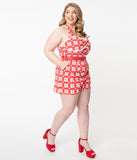Plus Size 1950s Red & White Plaid Heart Print Romper