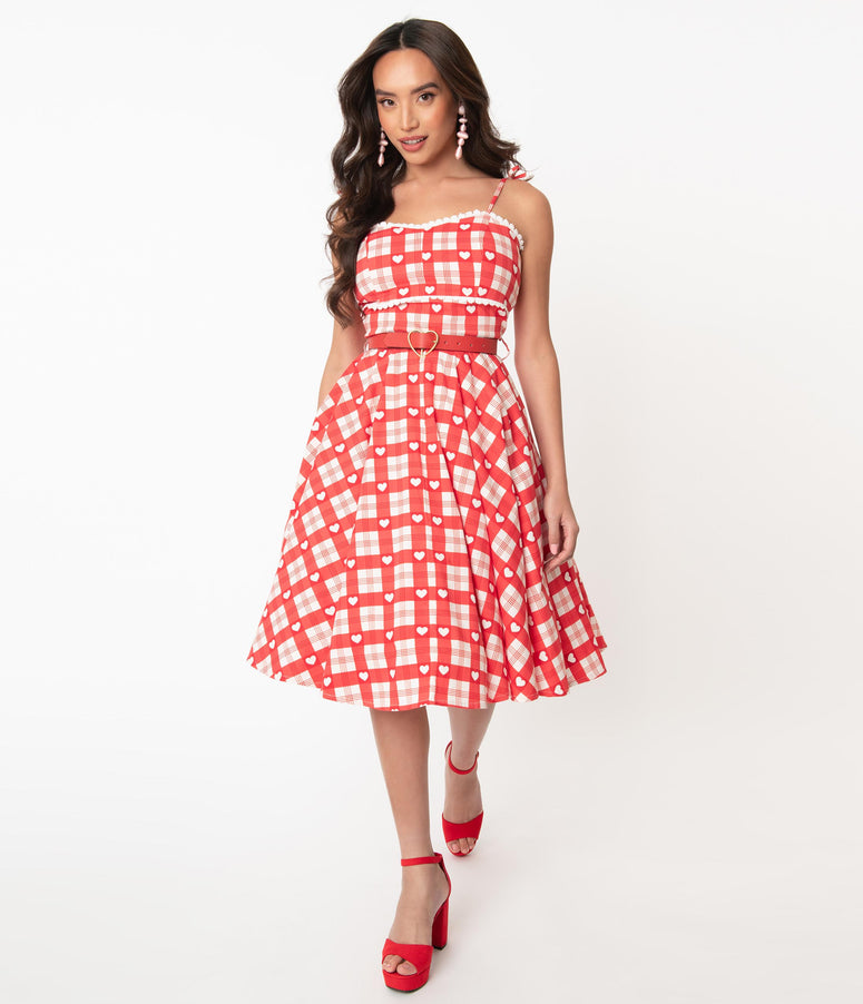 1950s Red & White Plaid Heart Print Swing Dress
