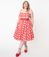 Plus Size Elasticized Waistline Swing-Skirt Belted Self Tie Pocketed Banding Back Zipper Fitted Plaid Print Spaghetti Strap Sweetheart Dress