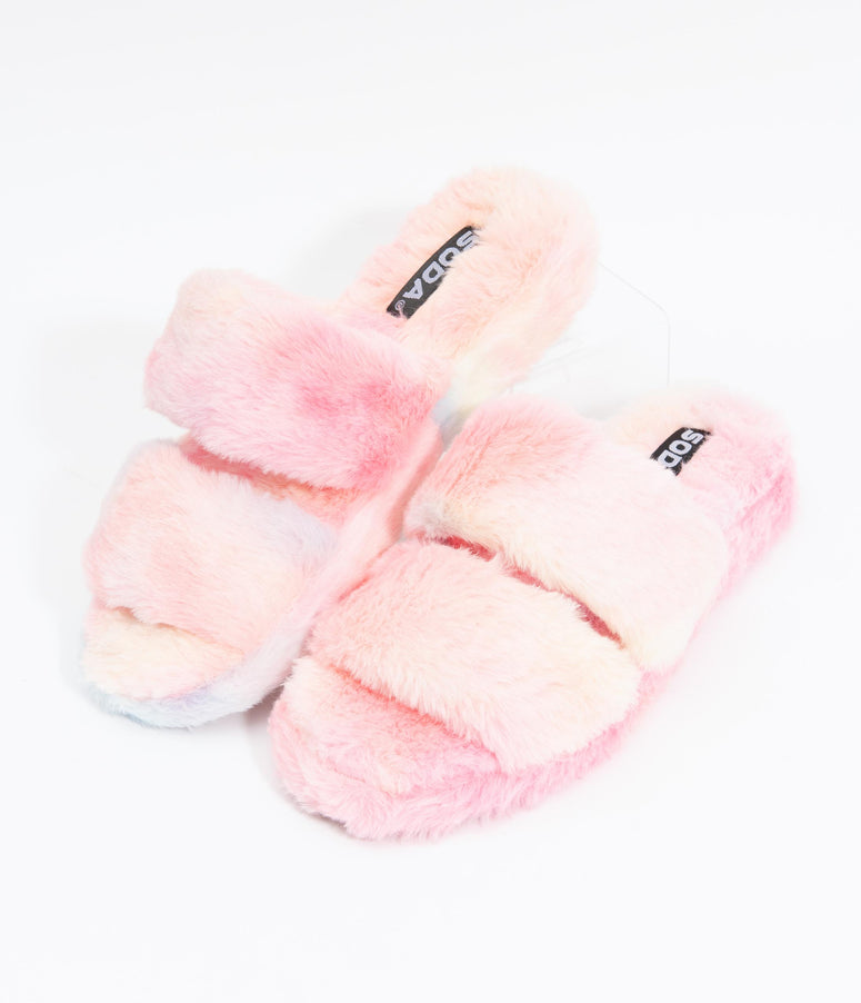Pastel Rainbow Ombre Fuzzy Slippers