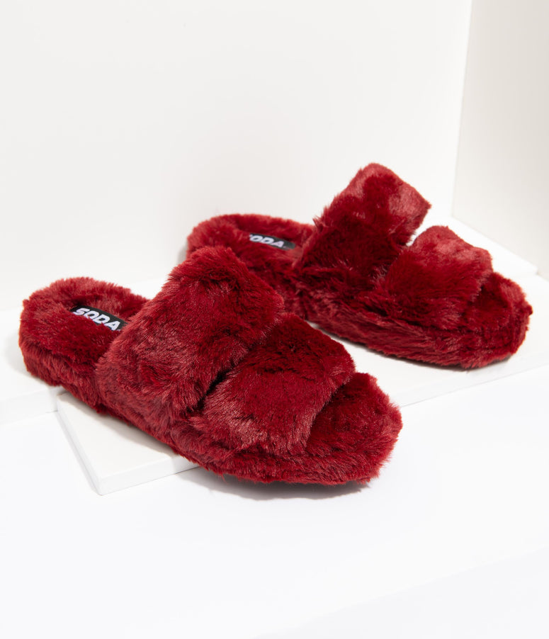 Wine Red Fuzzy Slippers