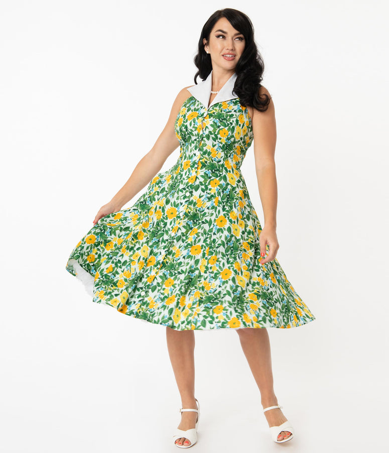 Unique Vintage Green & Yellow Floral Print Idyllwild Swing Dress
