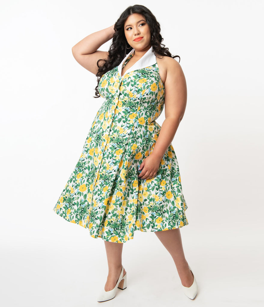 Unique Vintage Plus Size Green & Yellow Floral Print Idyllwild Swing Dress