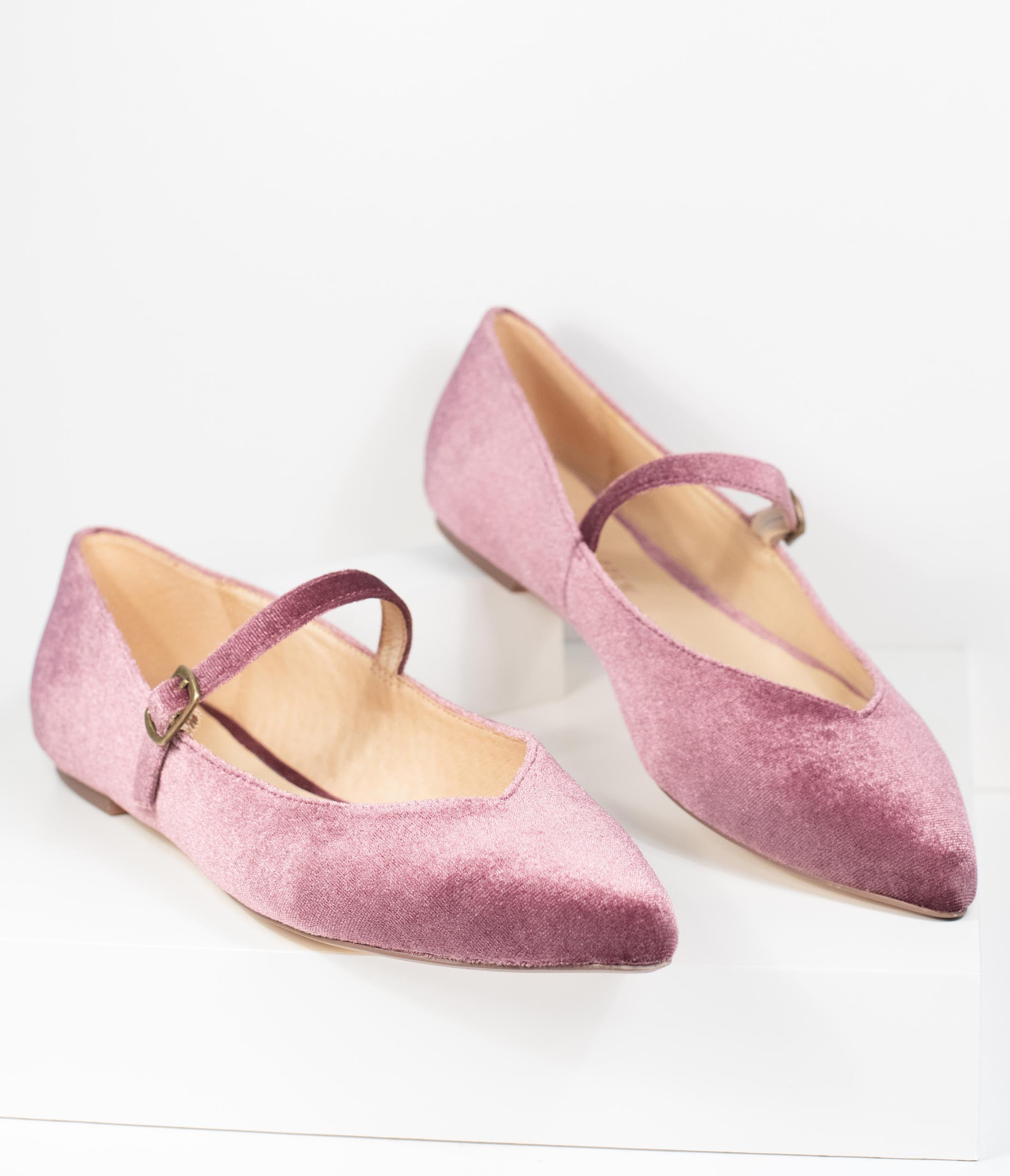 Retro Vintage Flats and Low Heel Shoes Chelsea Crew Rose Velvet Prime Mary Jane Flats $68.00 AT vintagedancer.com