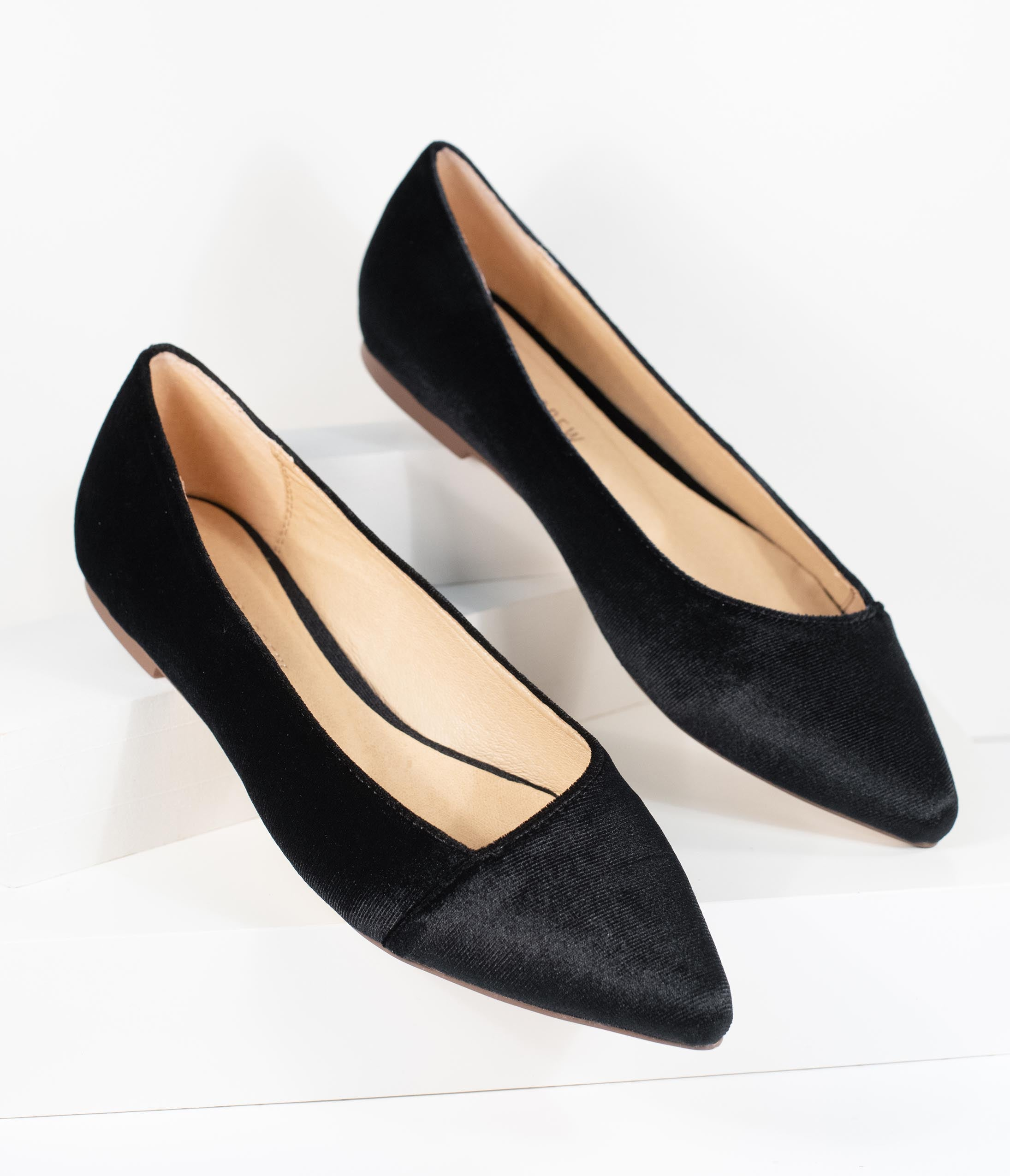 Retro Vintage Flats and Low Heel Shoes Chelsea Crew Black Velvet Pointed Toe Pammy Flats $68.00 AT vintagedancer.com