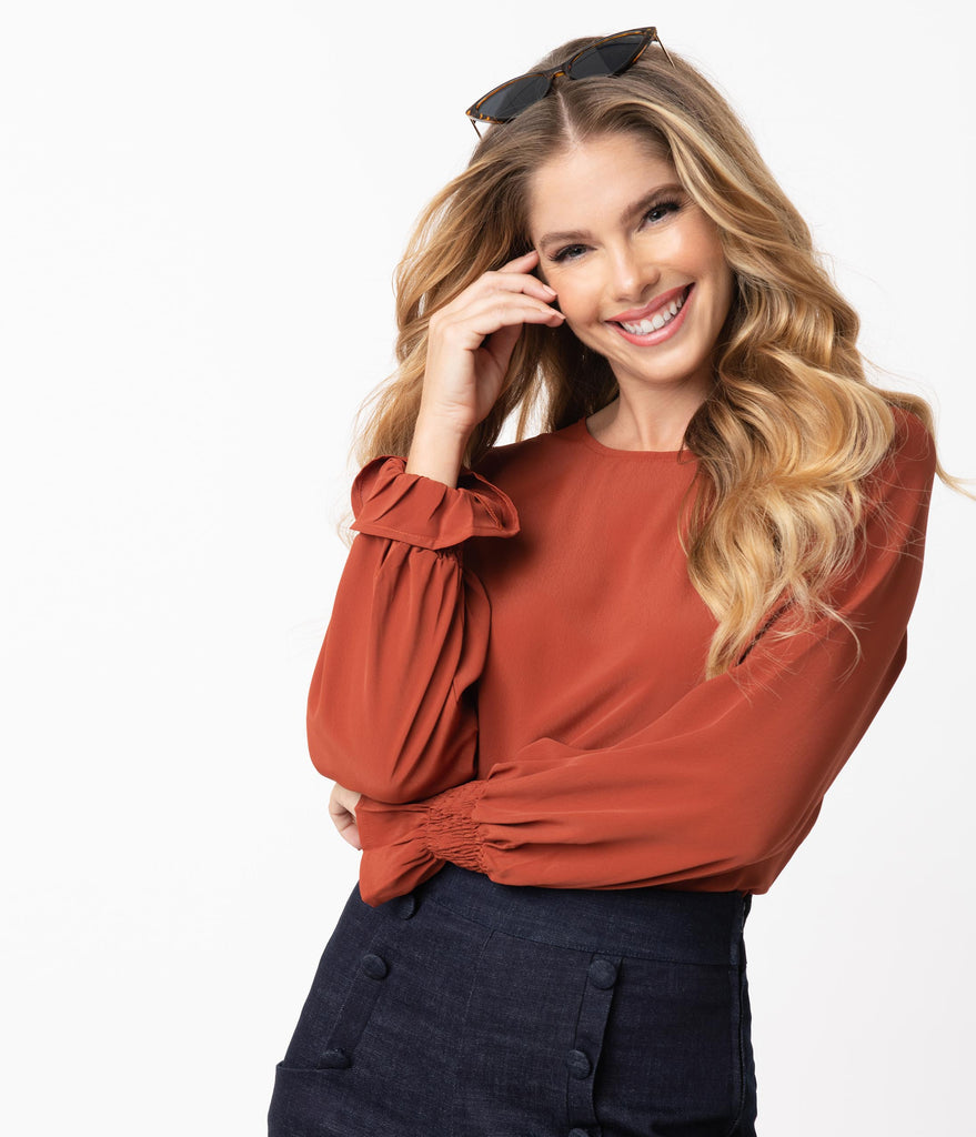 Rust Orange Peplum Sleeve Casual Blouse