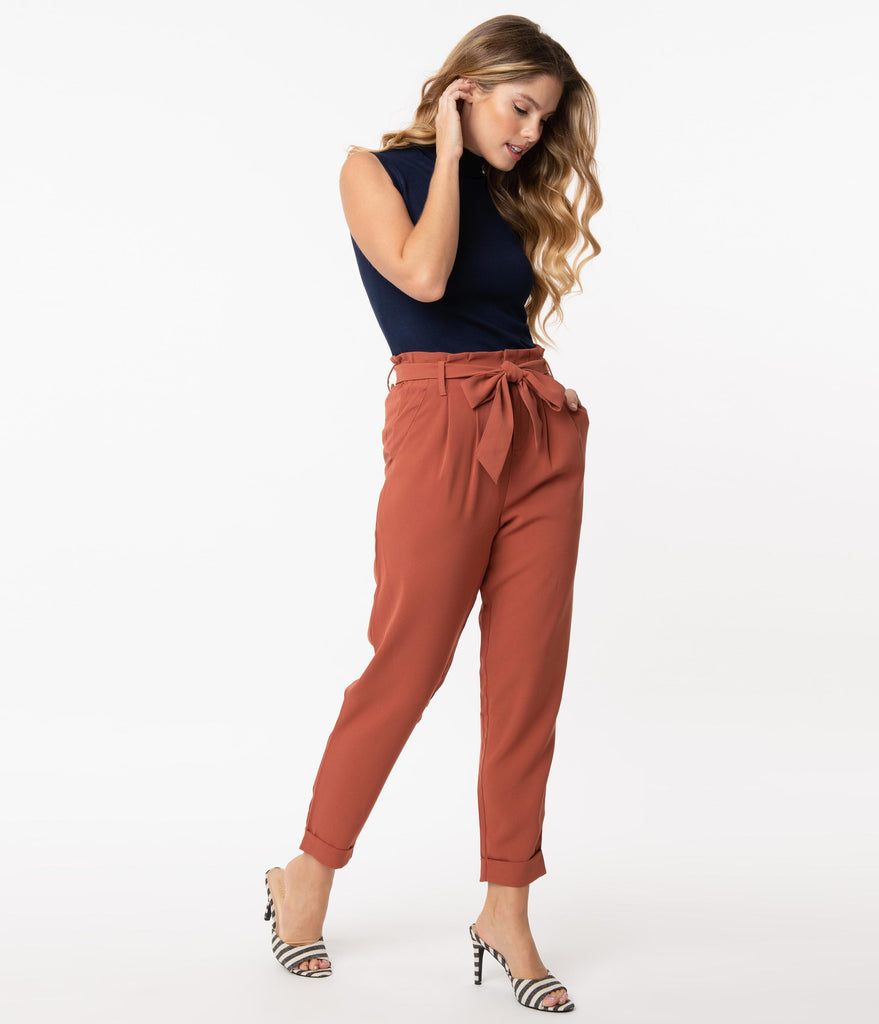 Vintage Style Brick Red Cropped Paperbag Pants