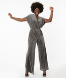 1970s Grey Velvet Ribbed Wide Leg Jumpsuit