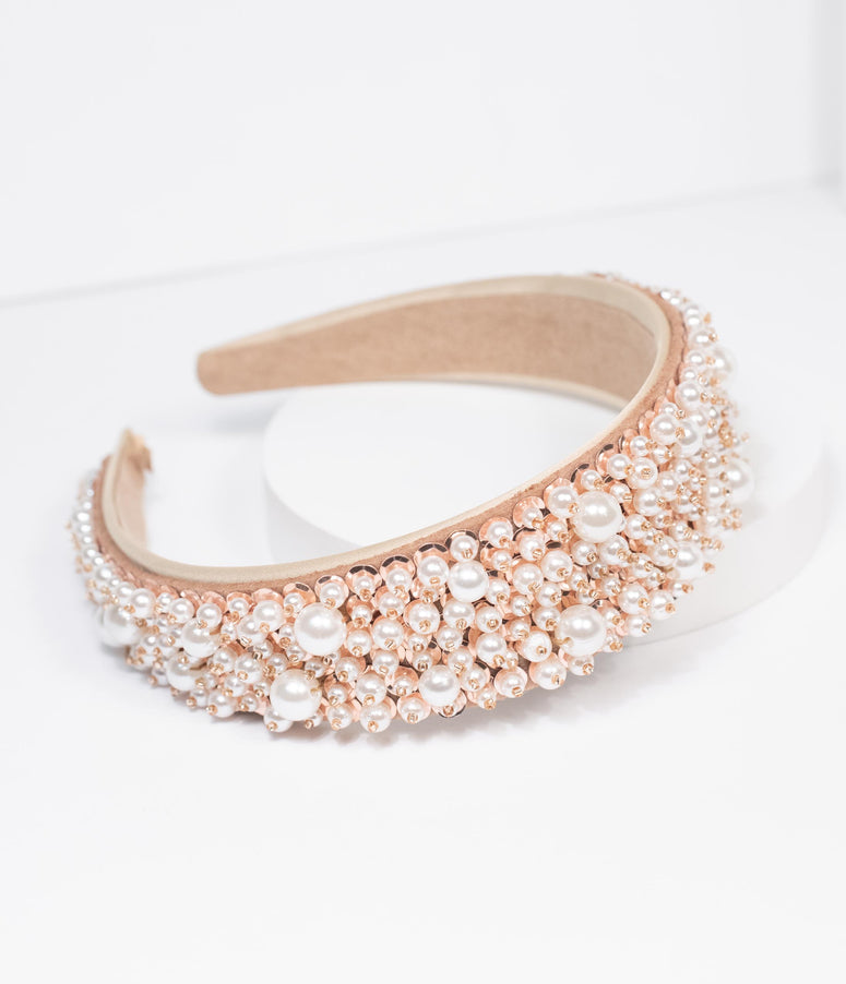 Cream & Pearl Beaded Headband