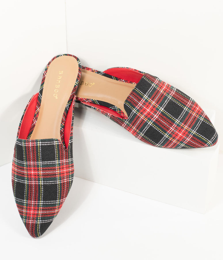 Red & Black Plaid Fabric Mules