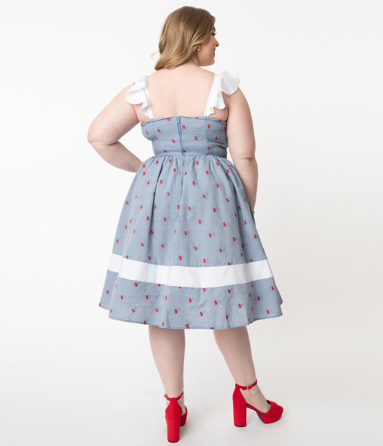 Vtg Gingham ladybug dress and bloomers set 2 piece summer set size 1824M 80/'s navy gingham dress by Rare Too!