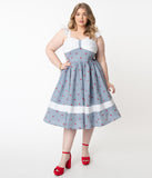Unique Vintage Plus Size 1950s Chambray & Cherry Print Lola Swing Dress