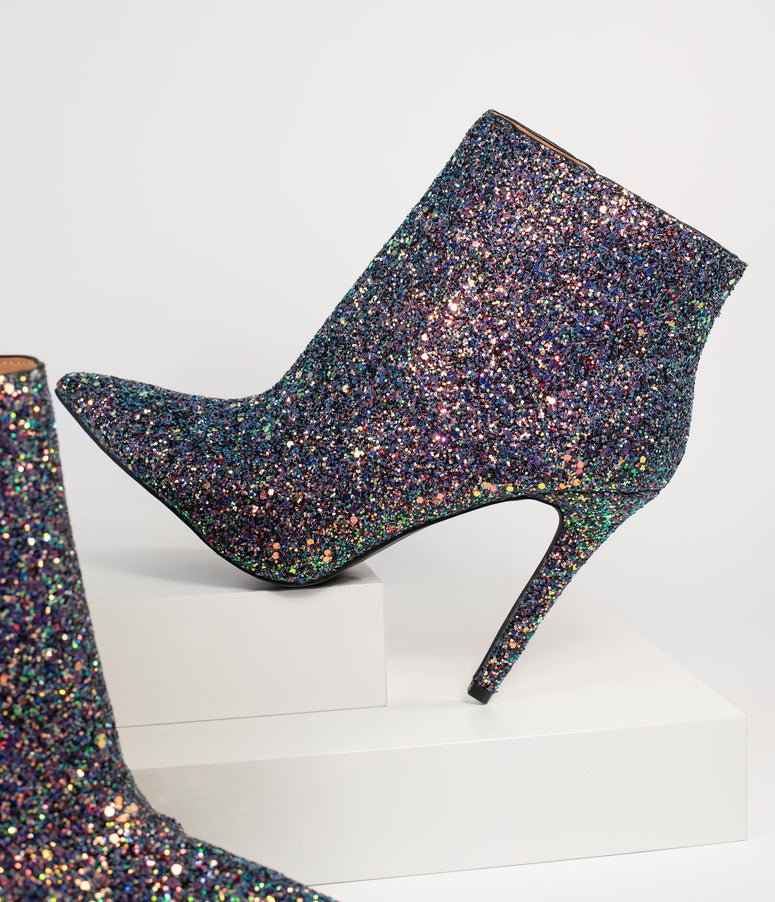 Black Iridescent Glitter Stiletto Booties