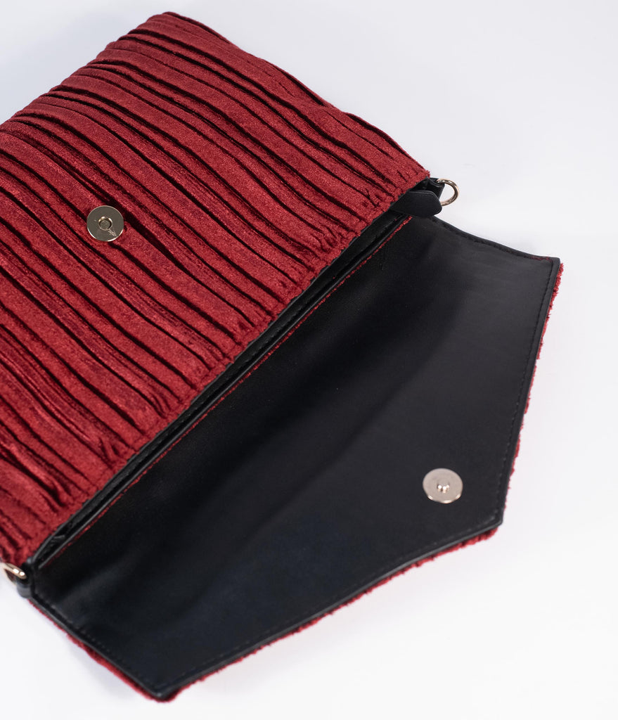 Burgundy Pleated Velvet Oversized Envelope Clutch