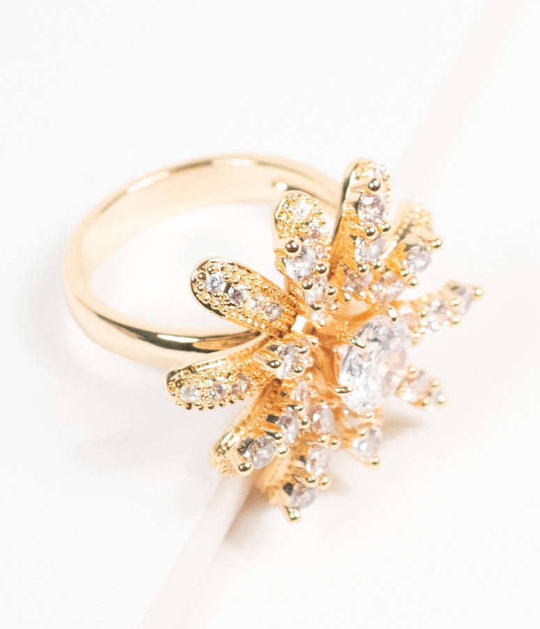 Gold & Silver Rhinestone Floral Cocktail Adjustable Ring