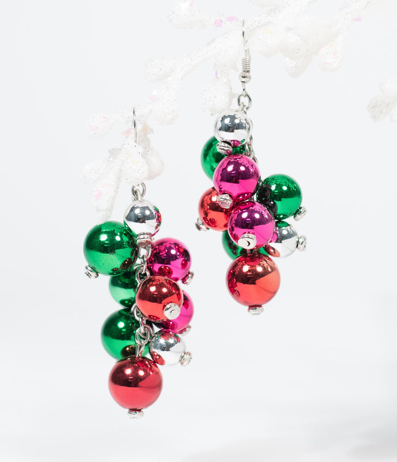Holiday Ornament Beaded Dangle Earrings