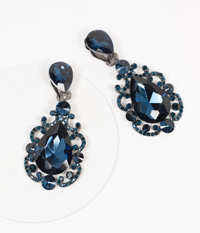 Navy Blue Gemstone Clip On Earring