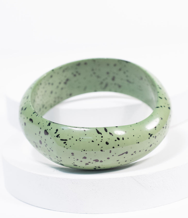 Green & Black Speckle Bangle Bracelet