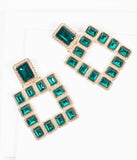 Gold & Green Rhinestone Square Earrings